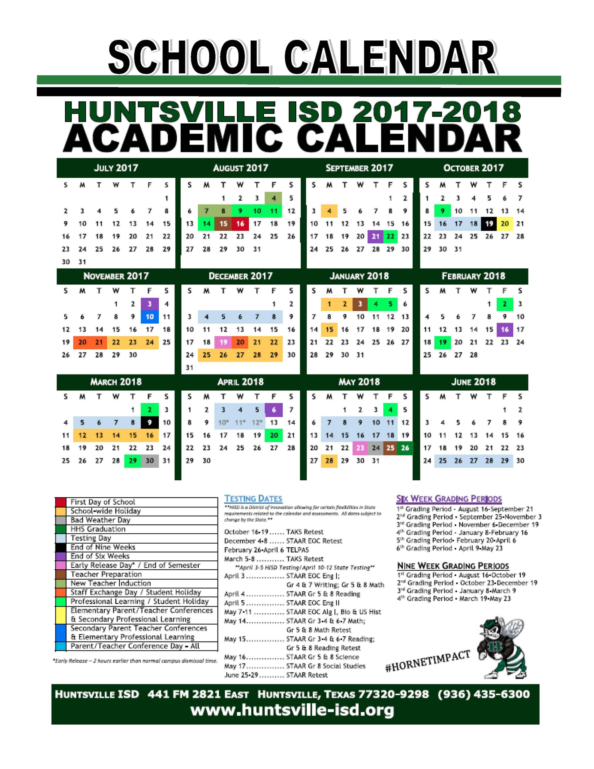 HISD 2017-18 Academic Calendar