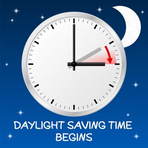 Daylignt Saving Time Begins March 12, 2 a.m., set clocks ahead one hour
