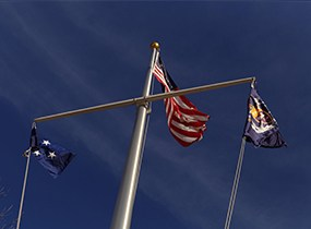 The US Flag and the Flags of the Navy