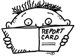 drawing of child with report card