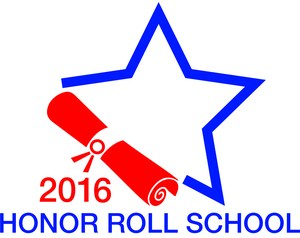Outline of a Star with a red diploma with the words 2016 Honor Roll School