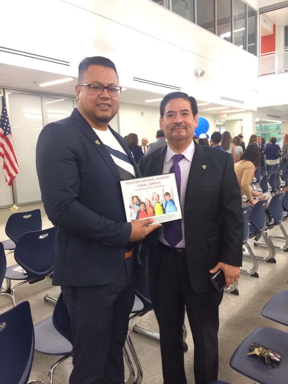 Mr. Garza and Mr. Arroyo received  Top Middle School in Houston Award