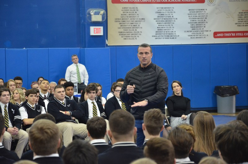 Chris Herren talking to PJ students