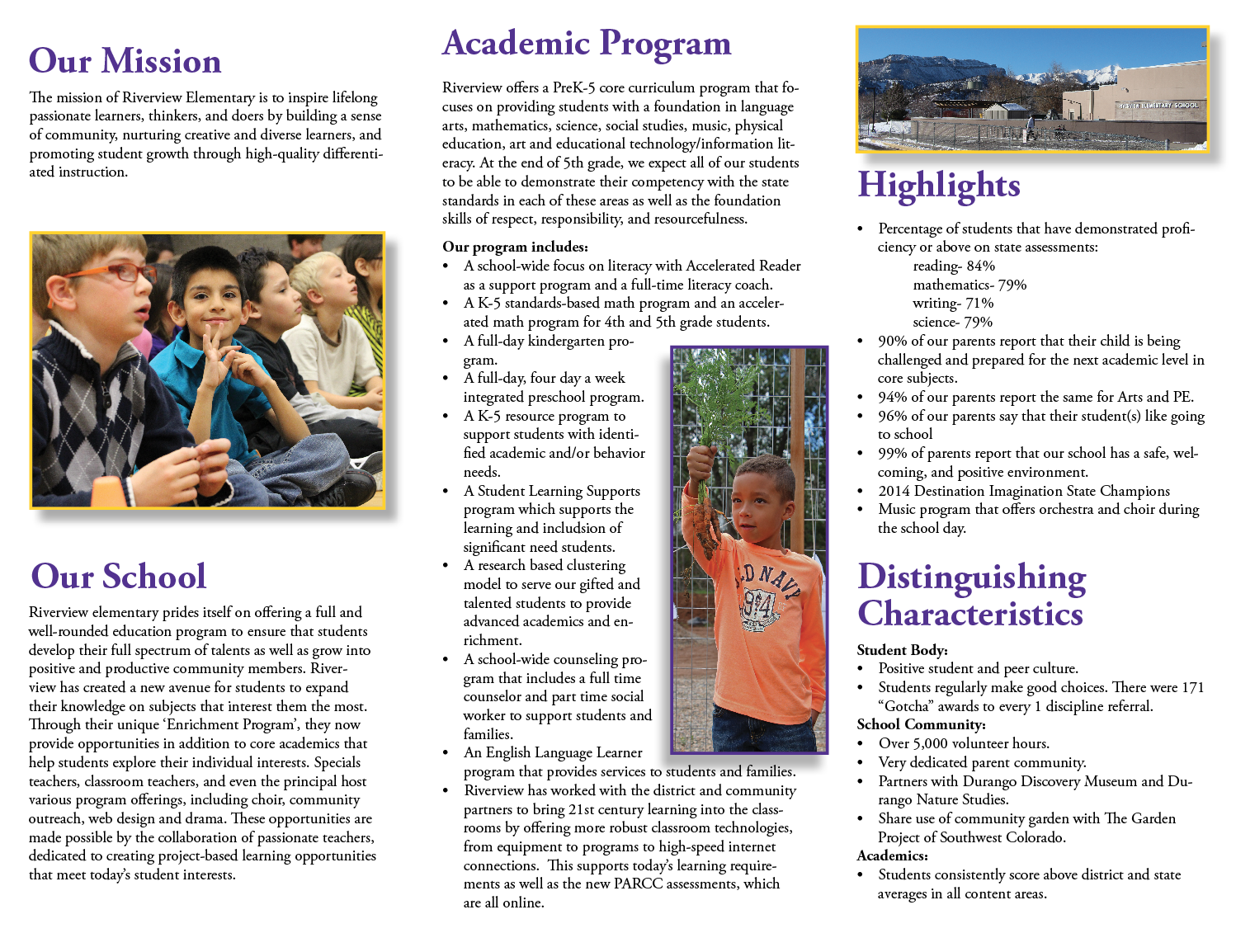 Screenshot of the inside of the Riverview Elementary brochure.