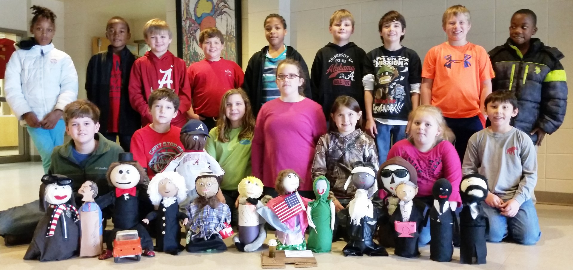 BES students get creative with book reports.  Favorite book characters are designed using 2 liter soda bottles.