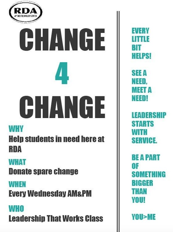 This is a flyer that is titled Change 4 Change. It includes all of the information that is already in the article.