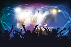 Backlit people at a concert