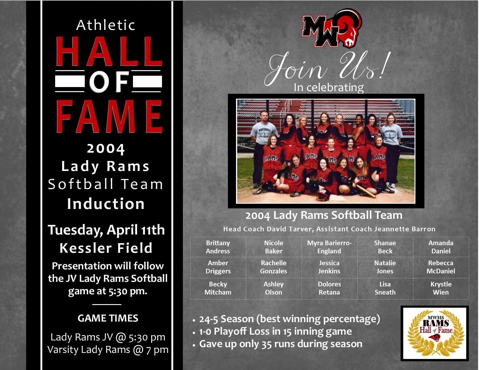 2004 Lady Rams Softball Team
