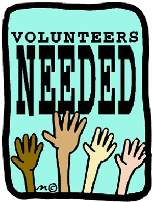 "Hand up in the air with ""Volunteers Needed"""