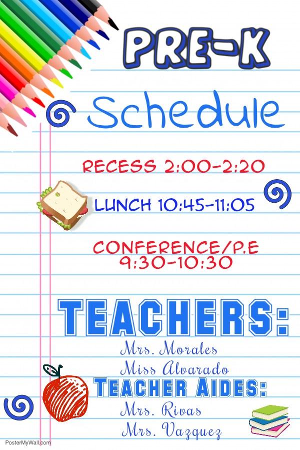 Pre K Schedule