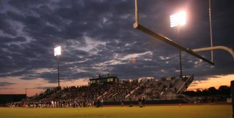 Siegel Football Stadium at dusk