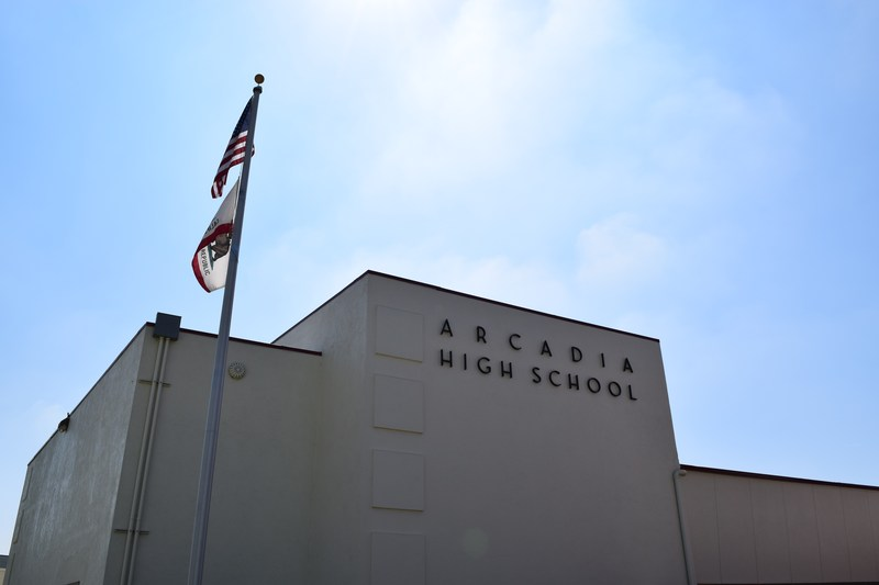 Arcadia High School Building with High School Name and State and US Flags