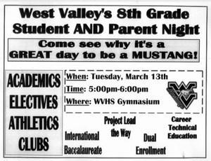 West Valley's 8th Grade Student and Parent Night