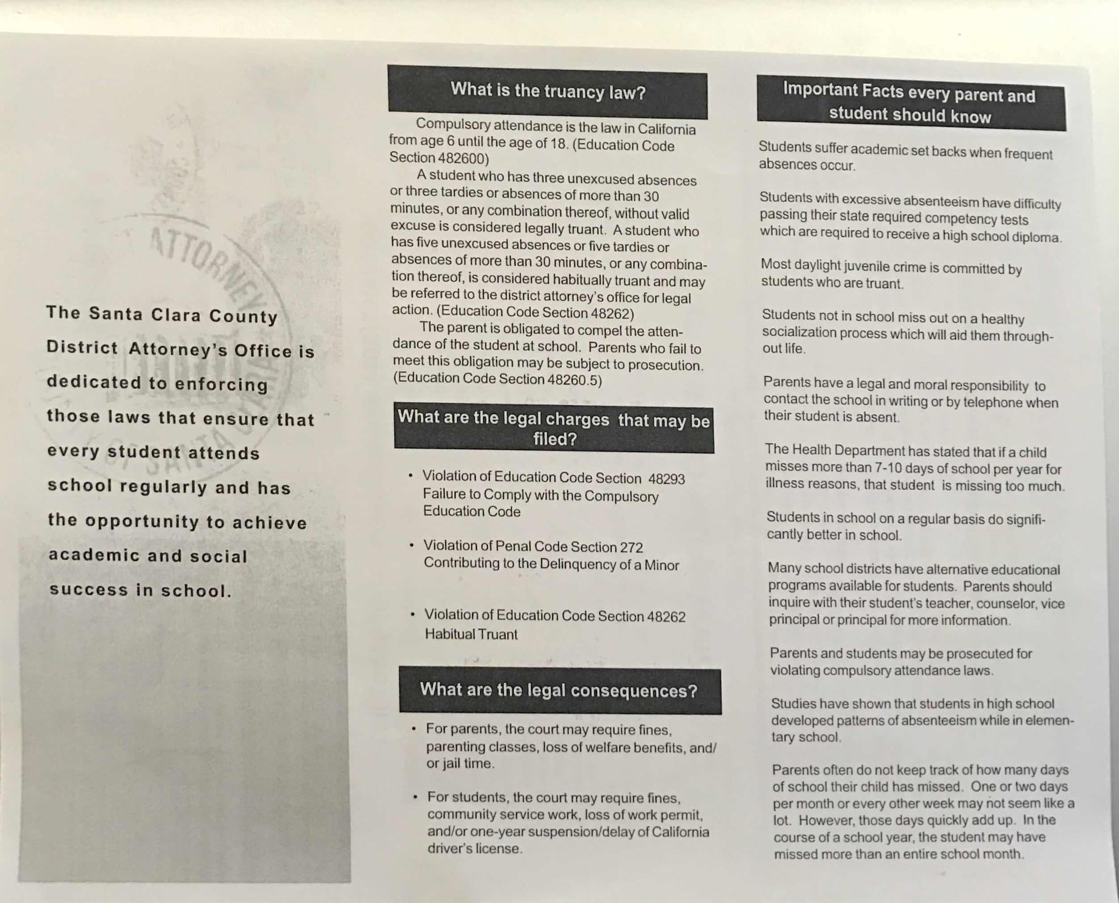 Truancy Laws Flyer