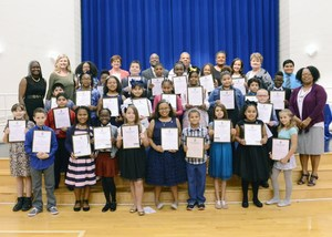 The first class of WOS Elementary honor society members.