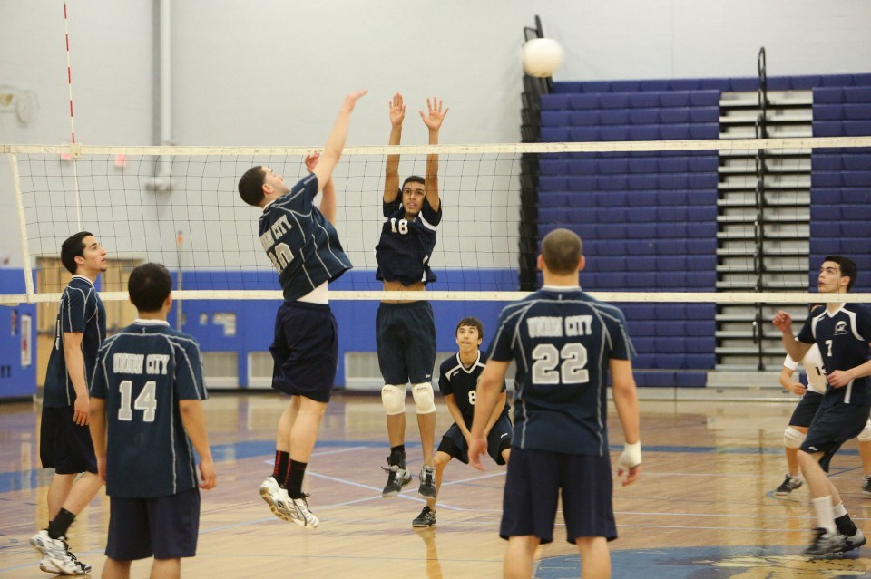 boys volley ball block