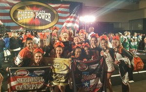 La Porte High School cheerleaders posing for photo at cheer competition