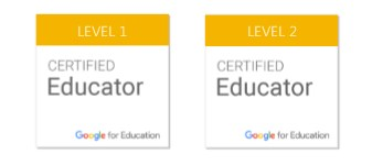 Google Certified Educator badges, level 1 and 2