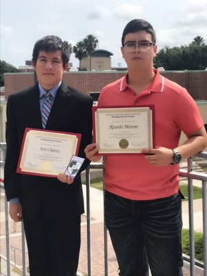 Pictured are VMHS senior Jose Chavez and MHS senior Ricardo Moreno with their Early College High School certificates.