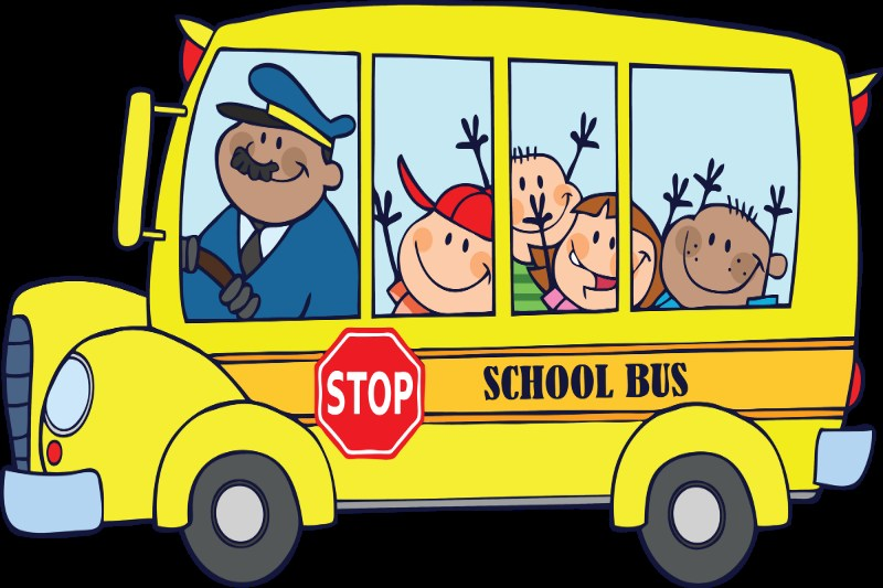 Yellow School Bus with a Driver ad children.