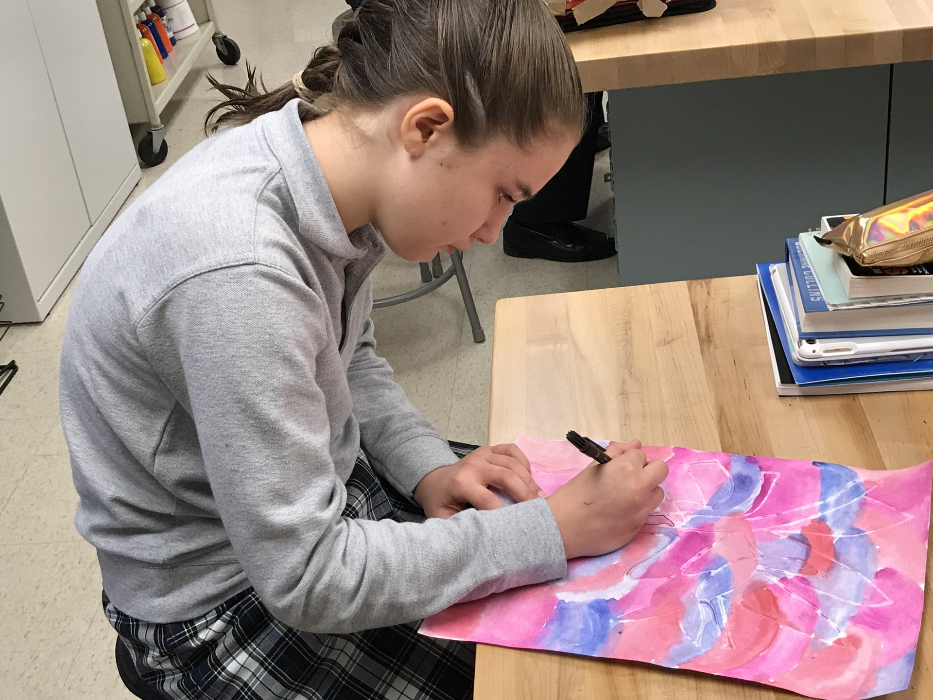Girl student drawing picture
