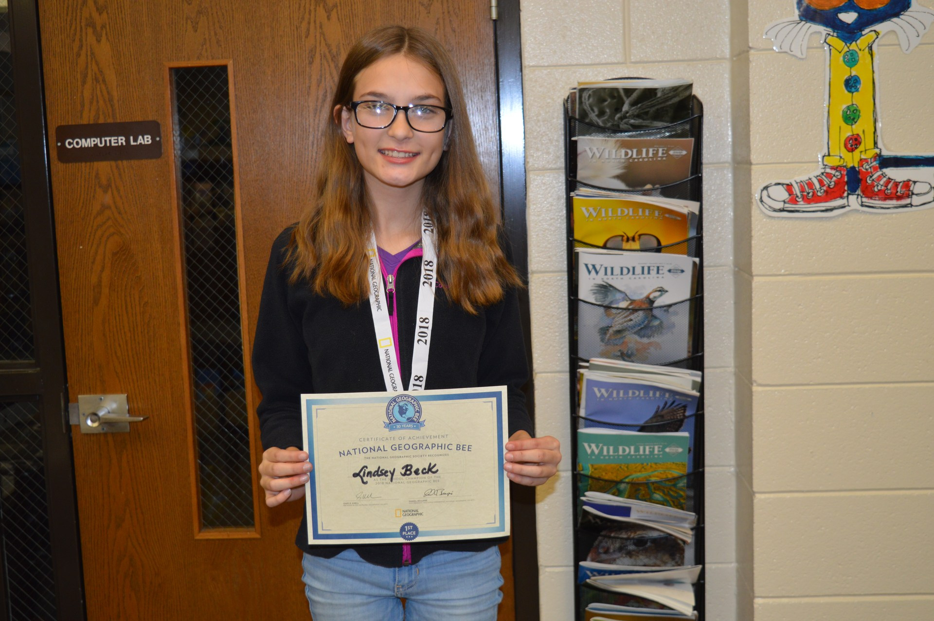 Lindsey was named the Hasty Geography Bee champion.