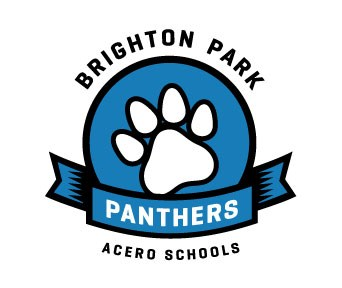 School logo, which depicts a paw print above the team name, Panthers.
