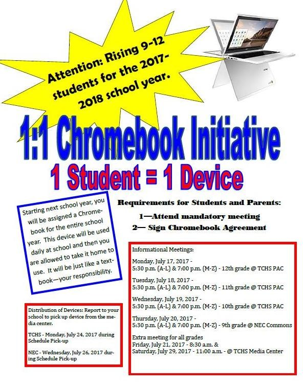 1:1 Chromebook Initiative Grades 9 - 12 Featured Photo