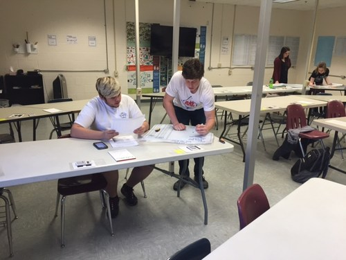 two students working at table Accounting group working on financial statements