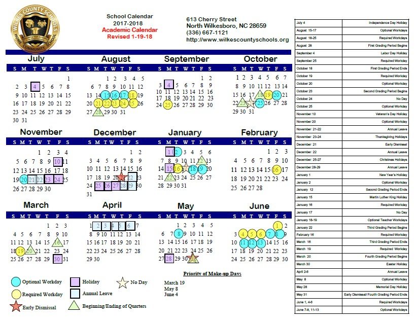 2017-18 Regular Academic Calendar (Revised 1/19/18)