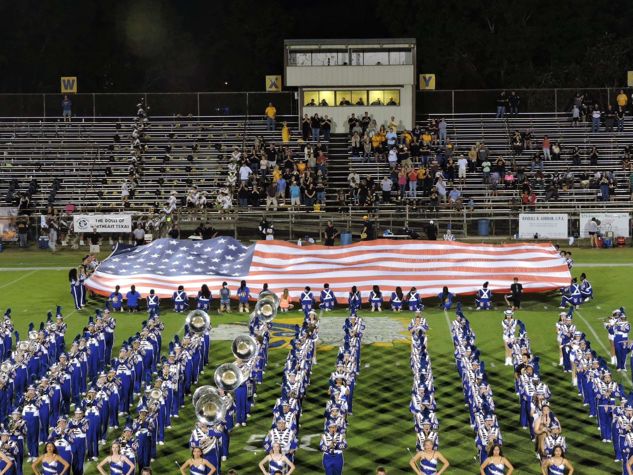 band with the large flag