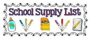 School supply list (glue, markers, crayons, notebook)