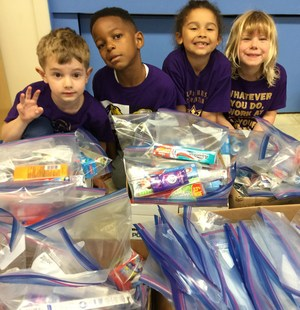 Kindergardeners packing for David Douglas Kids Closet