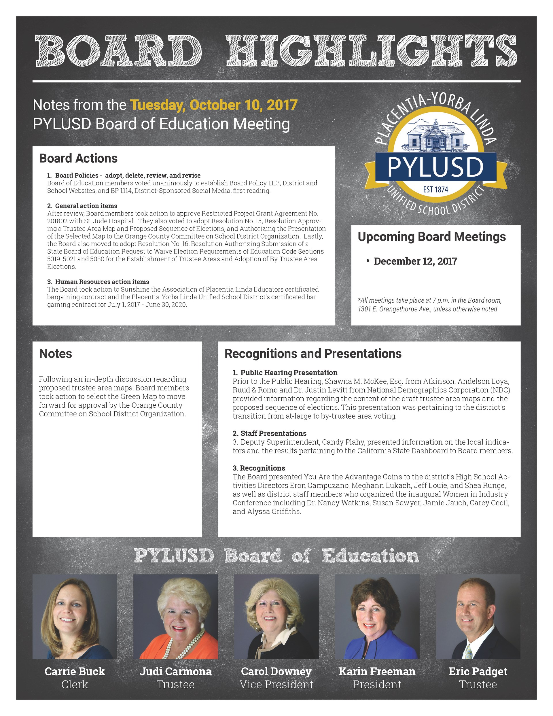 Board highlights from the November 7 meeting.