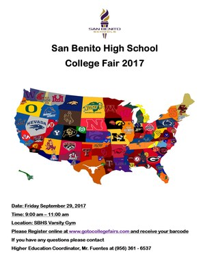 College Fair Flyer. College Fair will be held September 29th in the SBHS Gym.