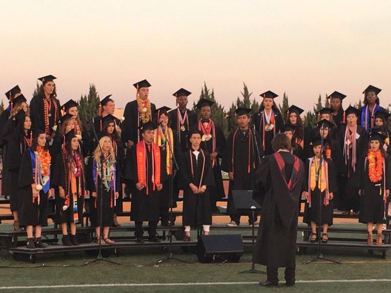 San Jacinto High School Class of 2017 Choir singing at graduation