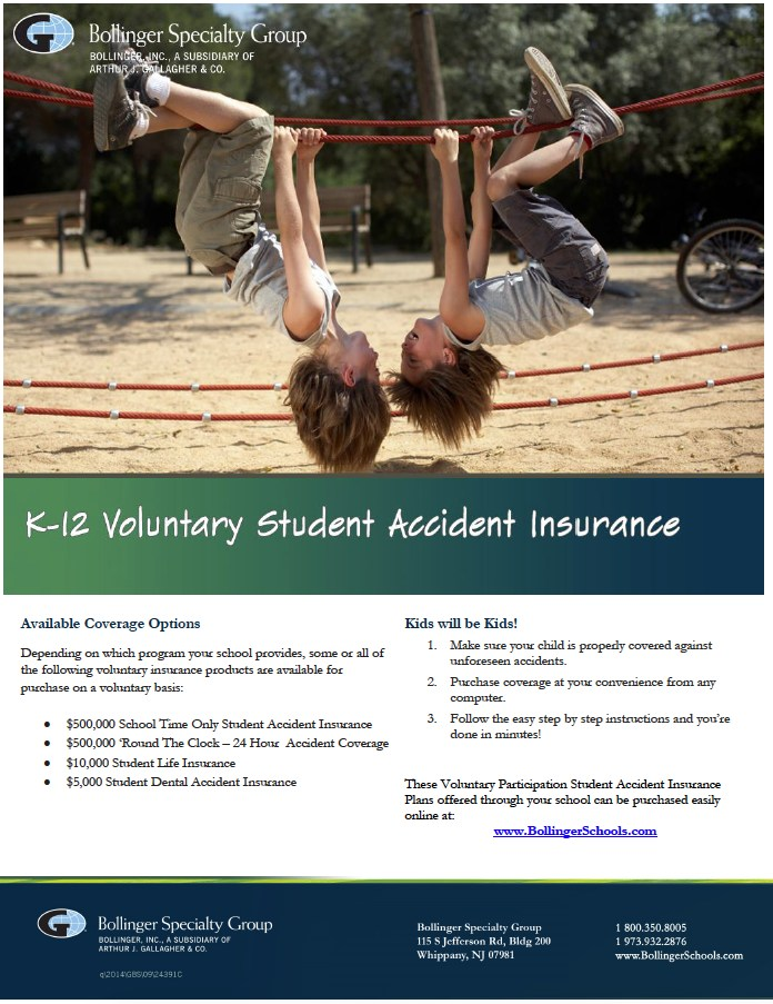 K-12 Student Accident Insurance - Link to Bollinger Insurance Company