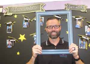 Brian Strawter, Counselor at Alessandro High School acting goofy for the camera.