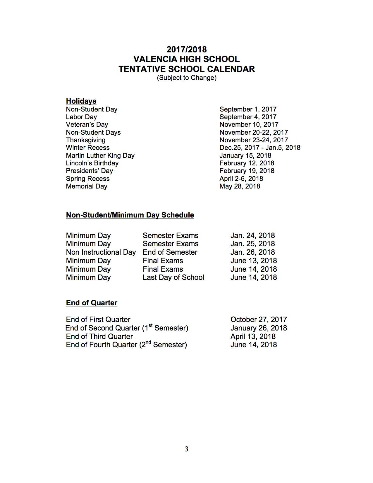 Special Days – Schedules – Valencia High School