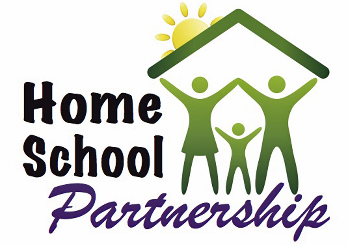 homeschool partnership with stick figures under a roof
