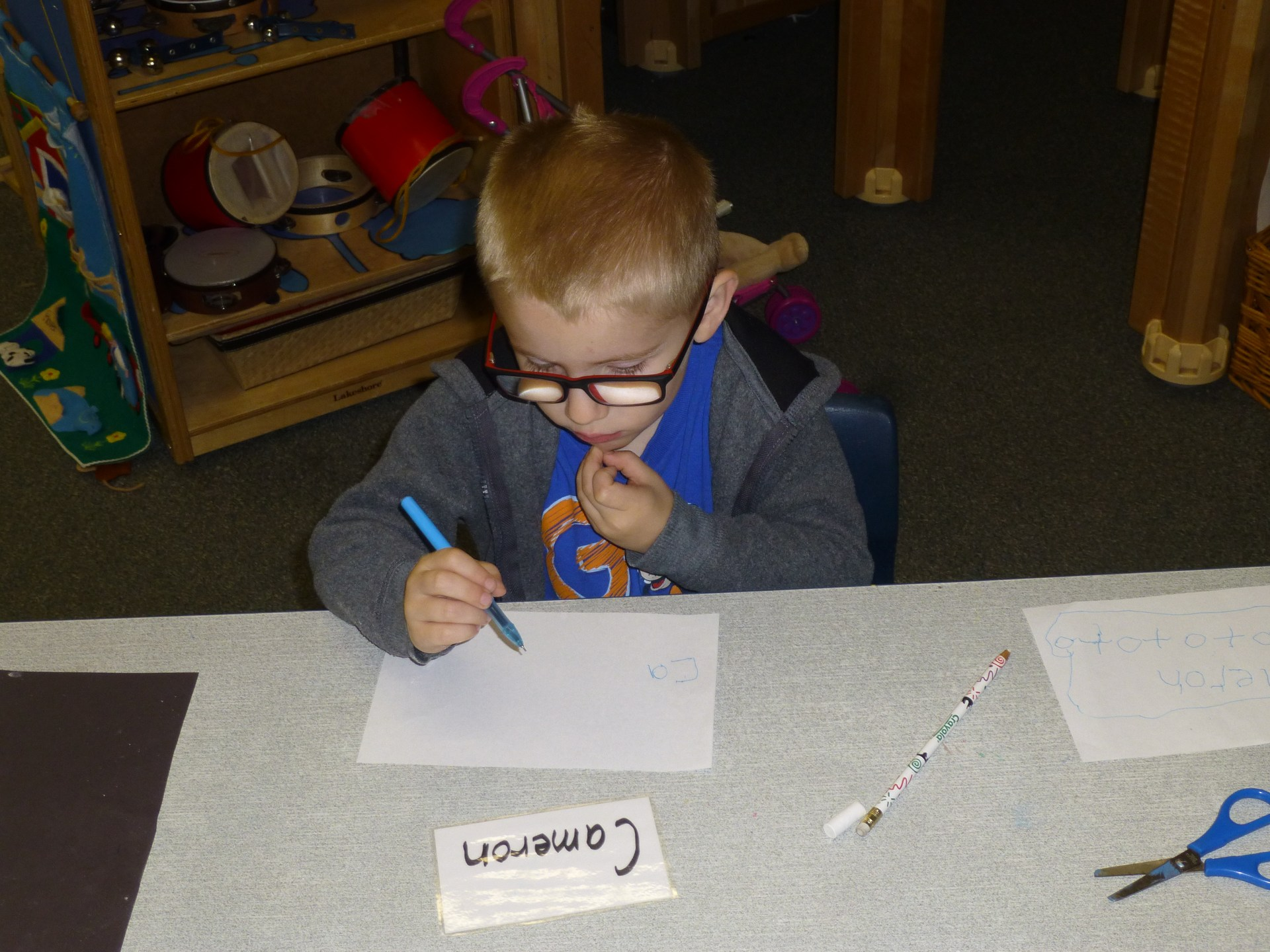 Student practicing writing