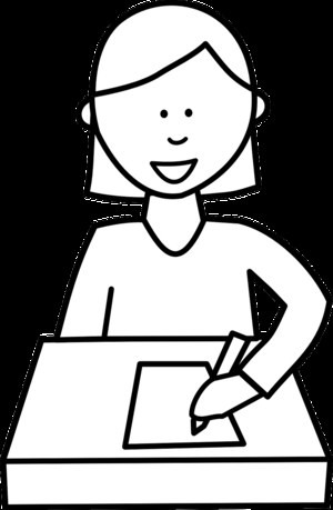 Clip art showing student taking a test.