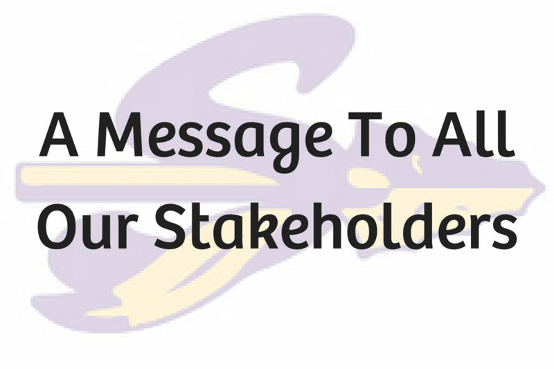 A message to our stakeholders