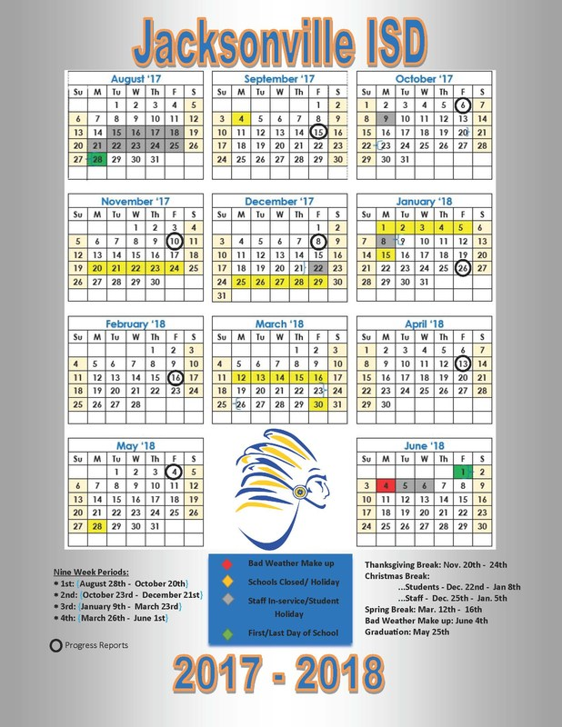 picture of JISD school calendar