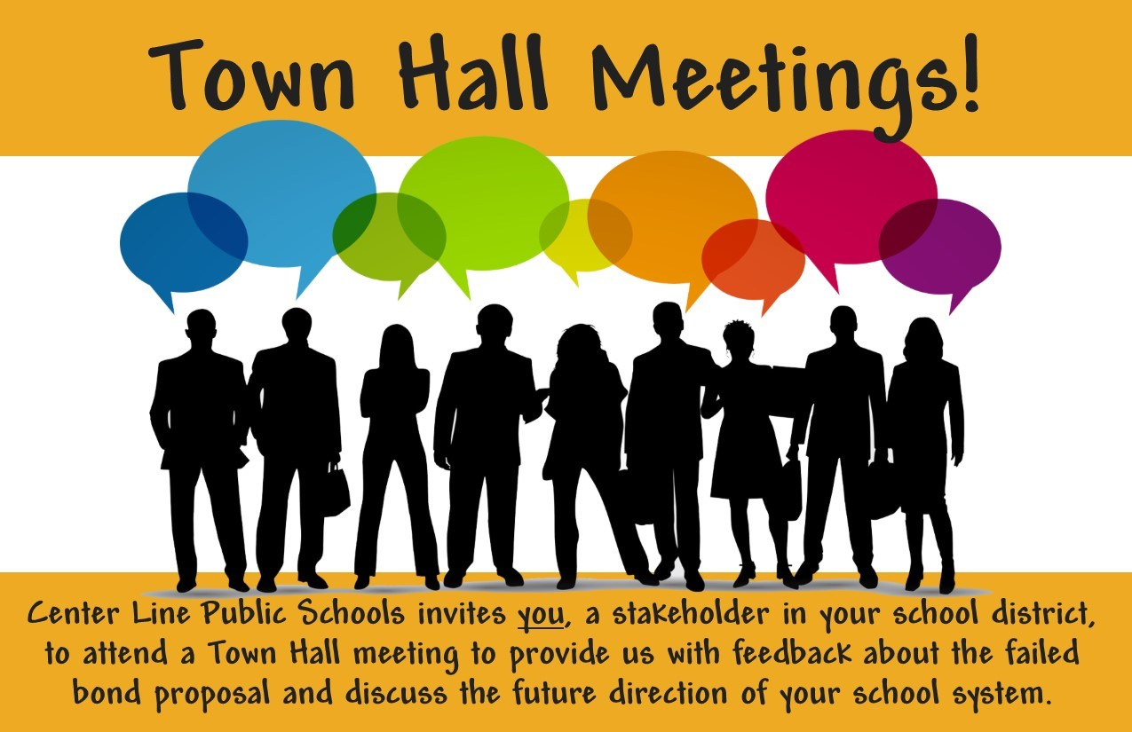 Town Hall Meetings - silhouettes with people and talk bubbles