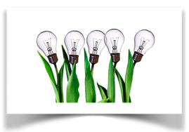 Image of lightbulbs growing from plants.