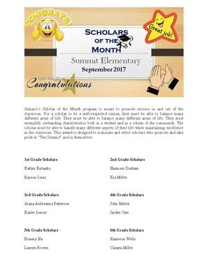 September Scholars