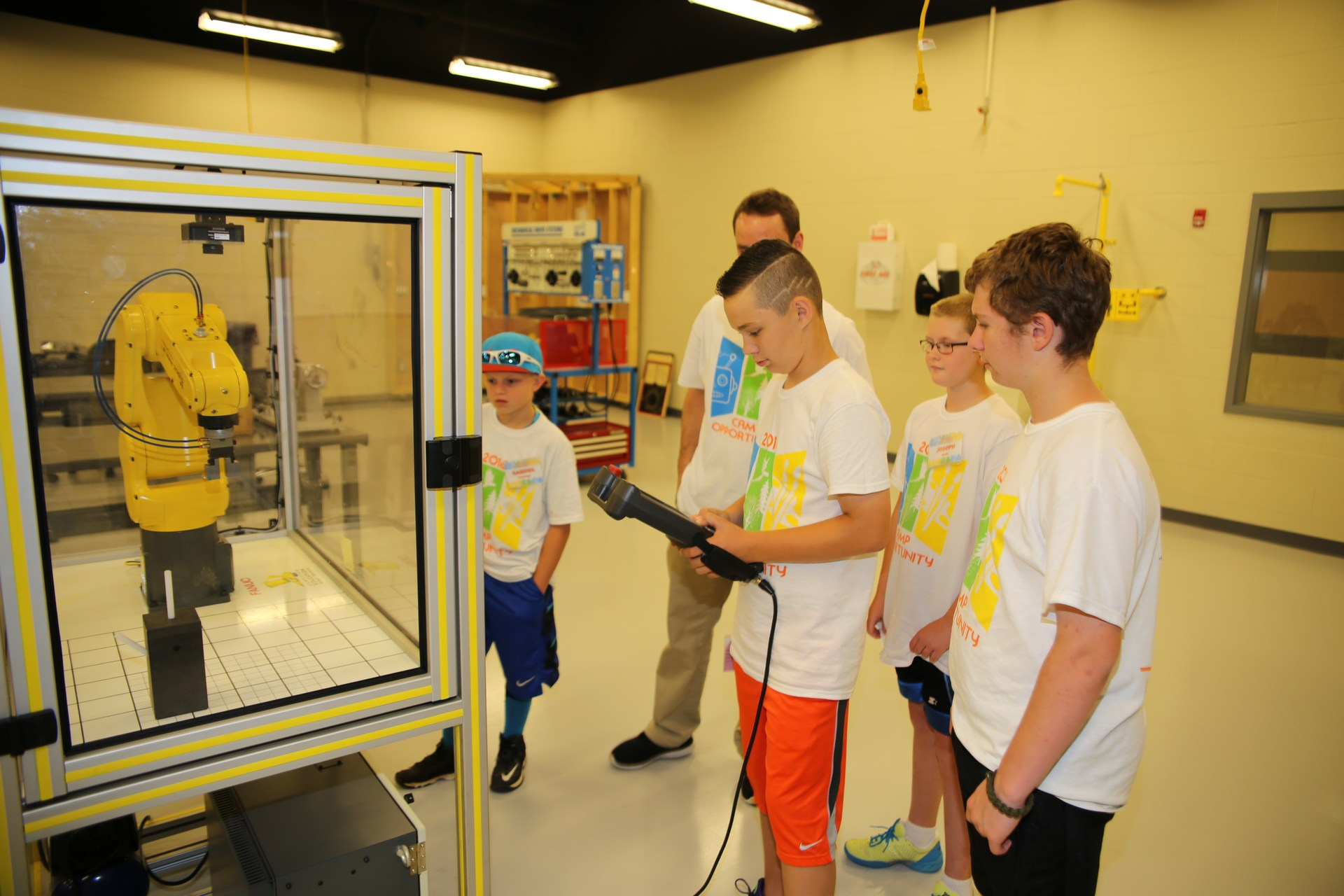 Students participating in Robotics