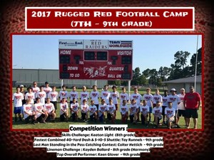 Award winners for the 7th - 9th grade competitions.  Skills Challenge: Keaton Light --- (8th grade) --- Winnsboro  Fastest Combined 40-Yard Dash & 5-10-5 Shuttle: Tay Runnels --- (9th grade) --- Winnsboro  Last Man Standing in the Pass Catching Contest: Colter Hettich --- (9th grade) --- Winnsboro  Lineman Challenge (Combination of Lineman Challenge & Best Overall Lineman during the week): Kayden Ballard --- (8th grade) --- Harmony  Top Overall Performer: Keen Glover --- (9th grade) --- Winnsboro