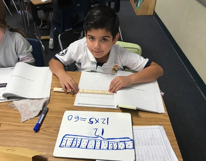 Boy doing math